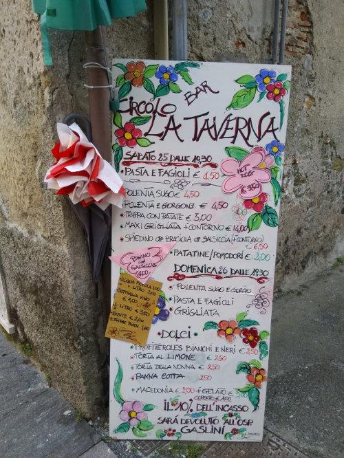 Foto del menù della taverna degli alpini